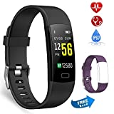 Semaco Fitness Tracker, Waterproof Activity Tracker Watch with Heart Rate Monitor Colour Screen, Pedometer, Sleep Monitor, Step Calorie Counter, Smartwatch for Kids Women Men (Black(purple band))