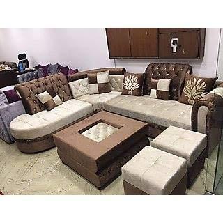 Best furnitures L-Shape Neem Wood Sofa Set (Coffe and White ...
