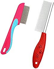 Dog comb,Cat comb,Pet combs,Metal Dog Comb,Pets Steel Comb,Cat Grooming Comb,Dog Grooming Comb for Removing Tangles and Knots (Red+Pink)