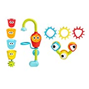 Yookidoo Baby Bath Toy- Spin N Sort Spout Pro- Three Stackable Cups, Automated Spout, and Spinning Suction Cup Gears