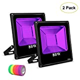Roleadro UV Black Light Flood Light Bulb, 80w UV Led Floodlight Outdoor IP66 Waterproof Stage Light for Blacklight Party, 5 Fluorescent Neon Glow Gaffer Tape, Glow in Dark Party, DJ Disco Night Club