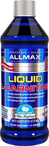 ALLMAX Nutrition Liquid L-Carnitine, Stimulant-Free Fat Metabolizer, Blue Raspberry, ()
