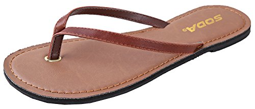 SODA Shoes Women Flip Flops Basic Plain Sandals Strap Casual Beach Thongs FELER Brown 11