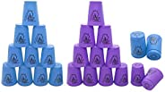24 Pack Speed Stacking Cups,Quick Stack Cups Set Speed Training Game for Travel Party Challenge Competition,Bl
