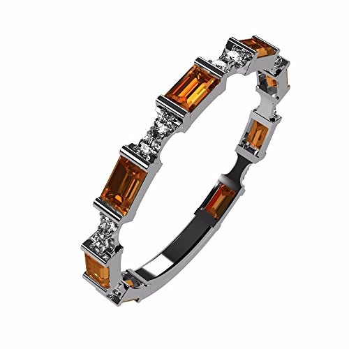 NANA Silver Stackable Ring Baguette Cut Platinum Plated - Size 8 - Simulated Yellow Topaz - Nov. Birthstone - Citrine Baguette