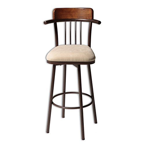 Augusta Metal Bar Stool with Wheat Microfiber Swivel-Seat and Hammered Copper Frame Finish, 30-Inch - Augusta Stool