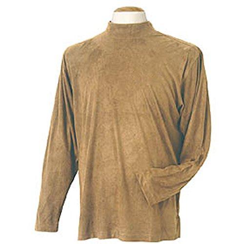 (Monterey Club Mens Stretchable Vegan Suede Mock Neck Shirt #1181 (Straw, X-Large))