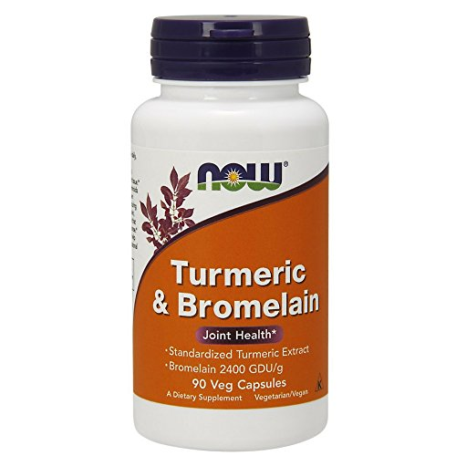 NOW Turmeric and Bromelain Veg Capsules, 90 Count