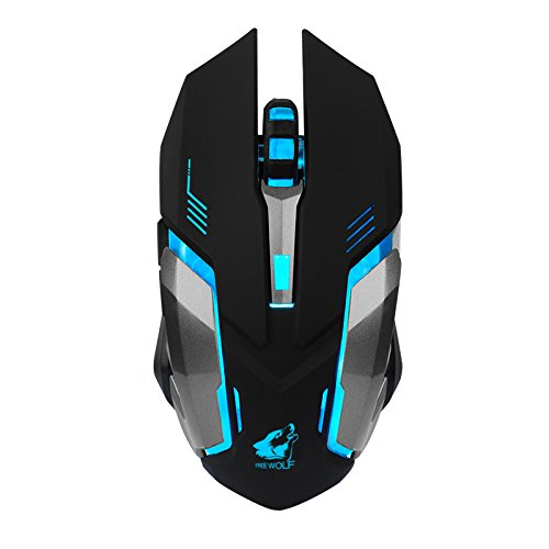 Price comparison product image BOOFAB Wireless Gaming Mouse,  Rechargeable X7 Wireless Silent LED Backlit USB Optical Ergonomic Gaming Mouse, High Precision Metal Base,  Used for games and office (Black)