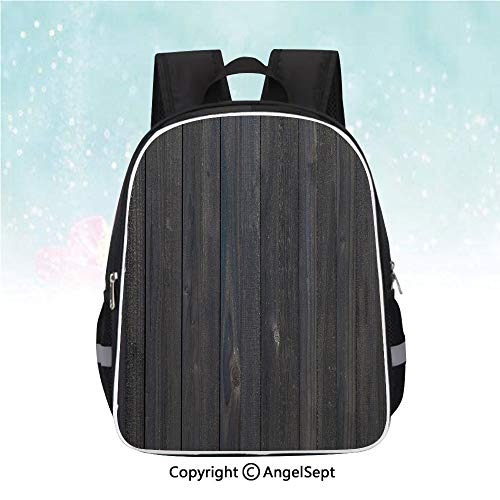 (Schoolbag for Kids,Wood Fence Texture Image Rough Rustic Weathered Surface Timber Oak Planks Decorative,13