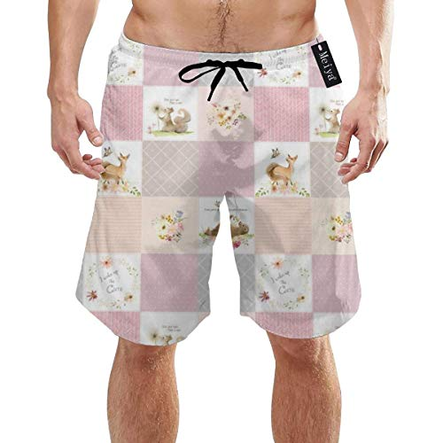 Woodland Animals Baby Girl Blanket Bear Fox Squirrel Mens Summer Swim Trunks 3D Graphic Quick Dry Funny Beach Board Shorts with Mesh Lining, Size M