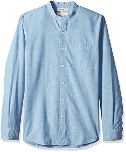 Goodthreads Men's Standard-Fit Long-Sleeve Band-Collar Chambray Shirt, -blue, Small