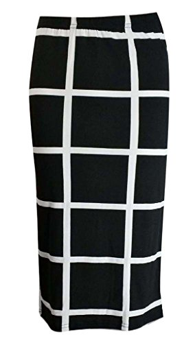 BEAULOOK - Jupe - Crayon - Femme multicolore Multicoloured GRID BLACK