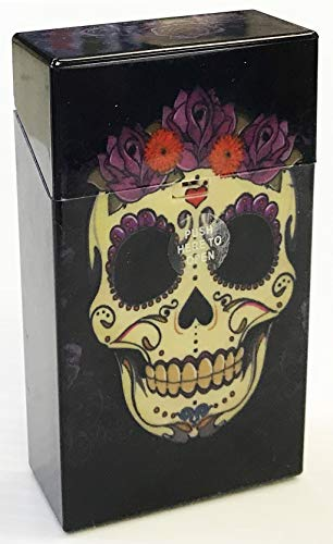 (Eclipse Candy Skull Design Crushproof Hard Plastic Cigarette Case, 100s, Choose Your Own Style! 3117CSKULL (Purple Flower))