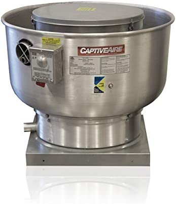 Low Profile Grease Rated Food Truck Exhaust Fan- High Speed Direct Drive Centrifugal Upblast Exhaust Fan with speed control- 24 3 4 Base, 0.75 HP 115 Volt Single Phase Motor, 1500-2200 CFM DU85HFA