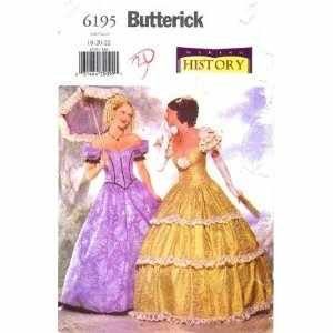 BUTTERICK MAKING HISTORY COSTUME SEWING PATTERN 6195 MISSES' SOUTHERN BELL/CIVIL WAR GOWNS SIZES: 6-8-10]()