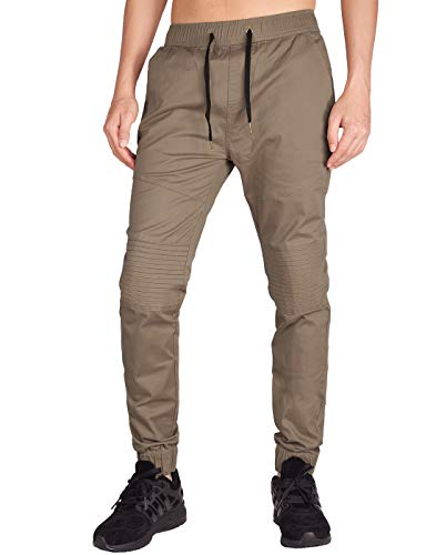 ITALY MORN Men's Chino Jogger Stretch Casual Pants XL Timber Khaki