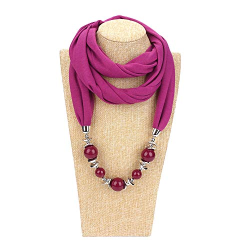 Fashion Jewelry for Women Big Round Beads Pendant Solid Color O Ring Scarf Necklace Jewelry