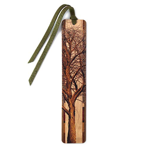 Winter Willow Tree in Color Wooden Hand Made Bookmark on Maple with Green Suede Tassel - Search B07994B3C3 to See Personalized Version.