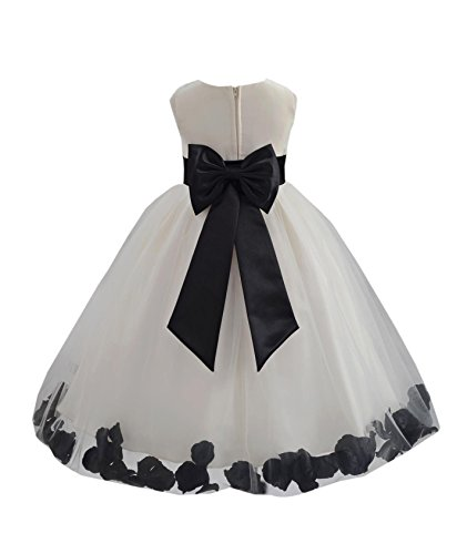 Ivory Rose Floral - Ivory Tulle Rose Floral Petals Toddler Flower Girl Dresses Bridal Gown 302T 4