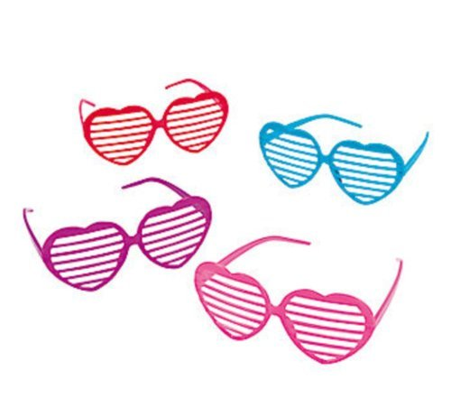 Fun Express 12 Plastic Heart Shaped Shutter Shading Glasses by FX