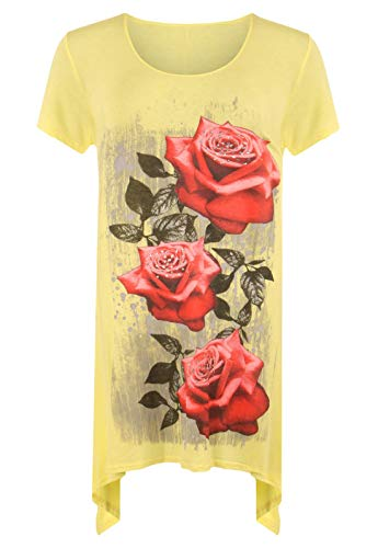 Taglia corta manica da donna 21fashion a unica gialla T stampata shirt nH8fP