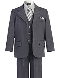 Boys Pinstripe 6-Piece Suit with Matching Neck Tie and Pocket Square