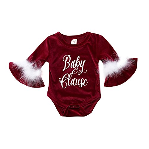 Christmas Santa Baby Claus Kids Girls Fur Romper Jumpasuit Outfits One-Pieces Clothes (Wine Red, 0-6M)