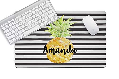 - The Navy Knot Personalized Desk Mat (Black Stripe Pineapple, 14x24)