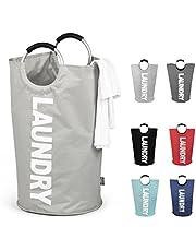 DOKEHOM 82L Large Laundry Basket (6 Colors), Collapsible Laundry Bag, Foldable Laundry Hamper, Folding Washing Bin (Grey, L)