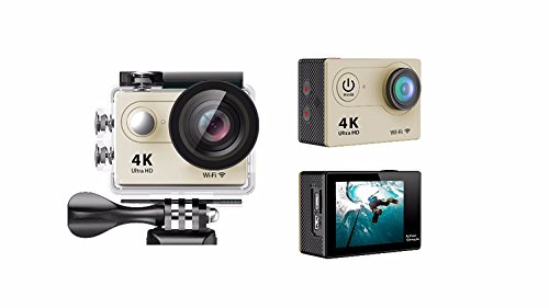 Full 4K HD Action Camera,Wifi,Underwater Photography Cam, 100Ft Waterproof Sport Video Camcorders,170 Degree Wide Angle Lens Recording DV with 1050mAh battery,26 Accessories (Gold) by i-Learning