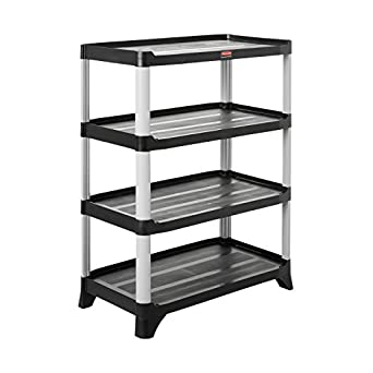 Rubbermaid Commercial Storage 4 Shelf Unit Black Science Lab Rh Amazon Com  Rubbermaid Shelving Installation Instructions