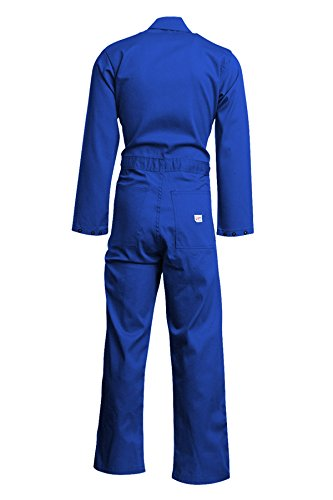 Lapco FR CVEFR7RO-3XL TL Flame Resistant Economy Coveralls, 100% Cotton Twill with Moisture Management, HRC 2, NFPA 70E, 7 oz, 3X-Large Tall, Royal