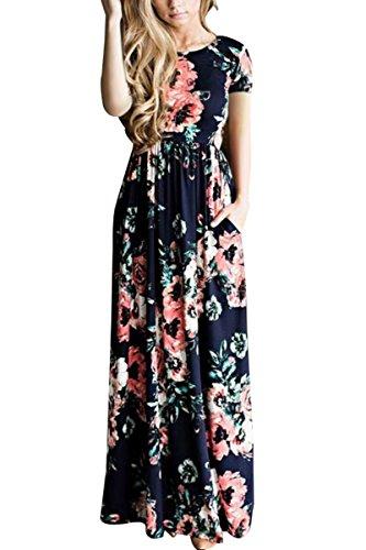 OMZIN Vestido Largo de Manga Corta Imperio con Estampado Floral para Mujer S-3XL Azul Marino Manga Corta