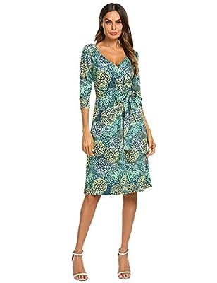 Locryz Women's Printed 3/4 Sleeve Wrap V-Neck A Line Dress with Belt