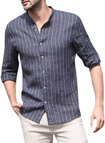 ღLILICATღ Camisa Hombre Cuello Mao de Rayas de Lino Y Algodón - Manga Largo - Botón Blusa - Top con Cuello en V - Camisa de Trabajo: Amazon.es: Deportes y aire libre