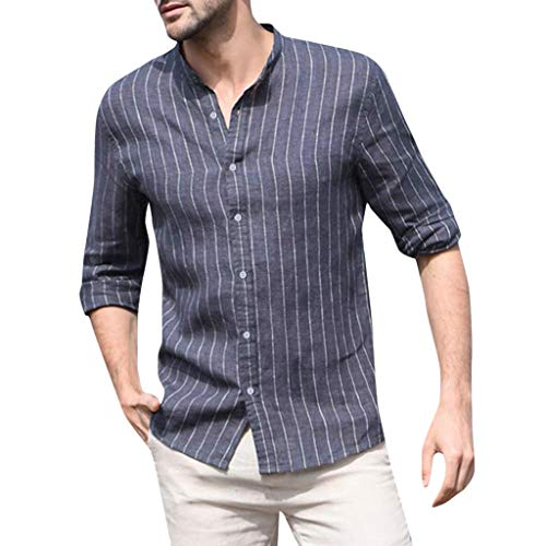 T Shirts Standard-Fit Long Sleeve Shirt Baggy Striped Button Retro Tops Blouse Men (L,Navy) ()