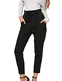 Women Casual Solid High Waist Drawstring Belted Ankle Length Pants