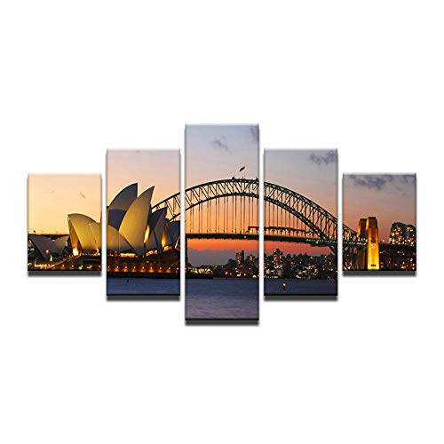 Fbhfbh Canvas Wall Art Pictures Home Decor for Living Room 5 Pieces Sydney Opera House Sunset Seascape Bridge Painting Prints Poster -12x16/24/32inch,with Frame