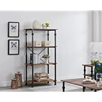 eHomeProducts 4-tier Heavy Duty Vintage Brown/Metal Frame Industrial Style Bookshelf Bookcase 60 H