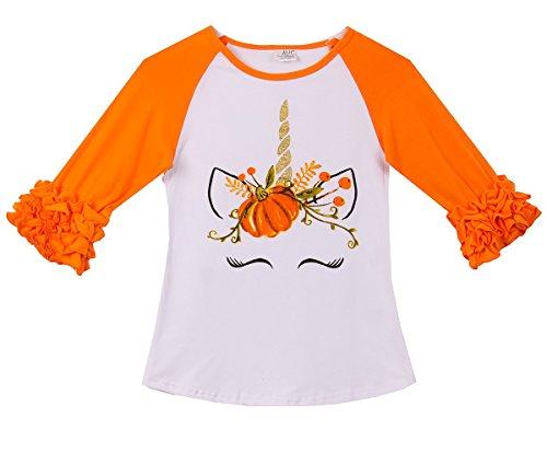 (Toddler Girls Ruffle Sleeve Unicorn Pumpkin Halloween Raglan Top T-Shirt Tee Orange 2T XS (P201587P))
