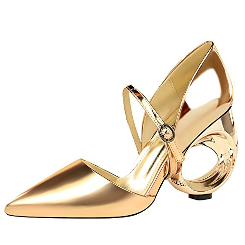 Mee Shoes Damen High Heels Spitz Schnalle Pumps Gold