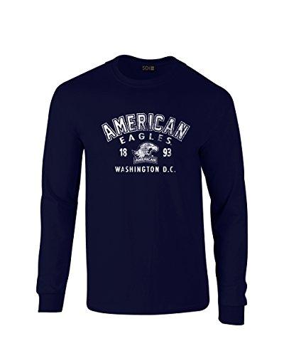 - NCAA American University Eagles 100% Pre-Shrunk Long Sleeve Tee, Royal, SMALL