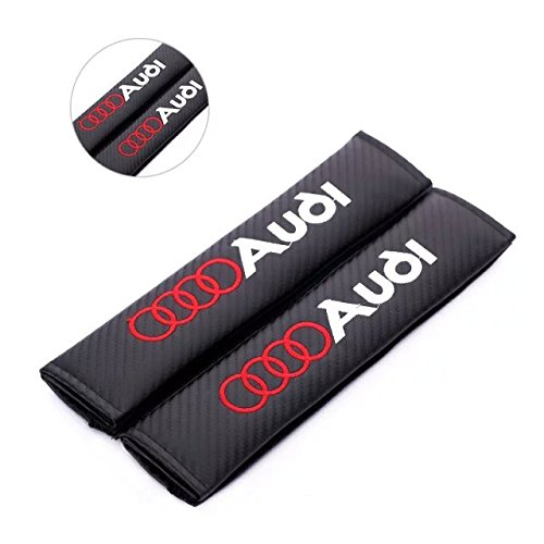 Audi S4 Accessories - Amooca Carbon Fiber Seat Belt Cover Shoulder Pad For Audi (Red Lettering)