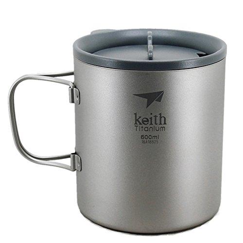 Keith ti3356New doppelwandig Titanium Becher Camping Tasse Wasser Cup 600ml 138g KS816