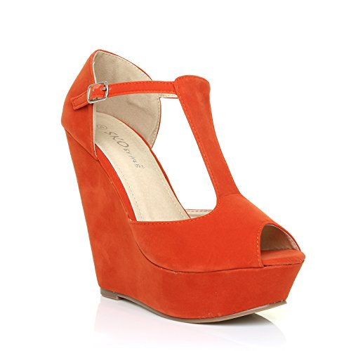 femme Sandales Orange pour ShuWish Suede unique UK Orange Taille vwC5qq1t