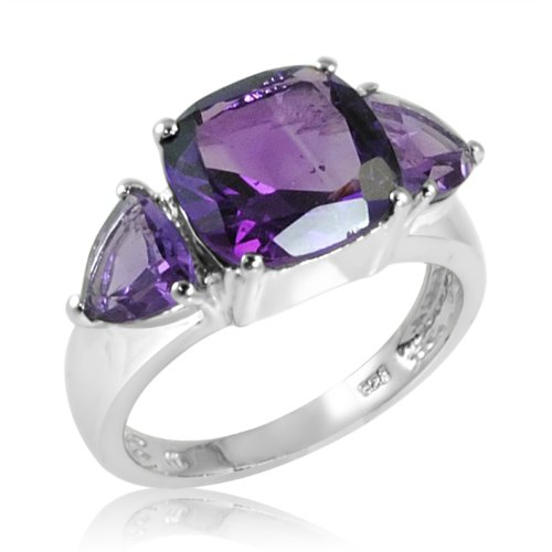 4ct tw Cushion and Trillion Cut Amethyst Ring in Sterling Silver ( Available Sizes 5-8) sz 5