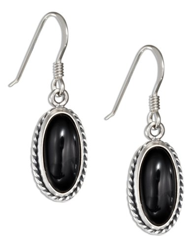 Onyx Earrings Black Oval (Sterling Silver Oval Simulated Black Onyx Earrings with Rope Border)