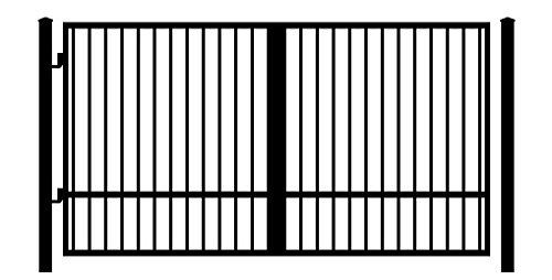 StandardGates Metal Wood Security Gates - Wrought Iron Driveway Gate Kit - Black Square ()