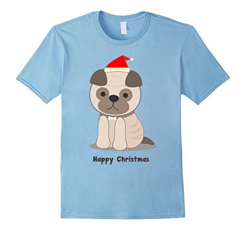 Mens Chibi French Pug Puppy in a Santa Hat Happy Christmas Tshirt Small Baby Blue (French Greeting Merry Christmas)